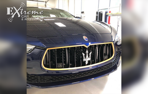 Detail Gold Vinyl Wrap Additions on Maserati Ghibil